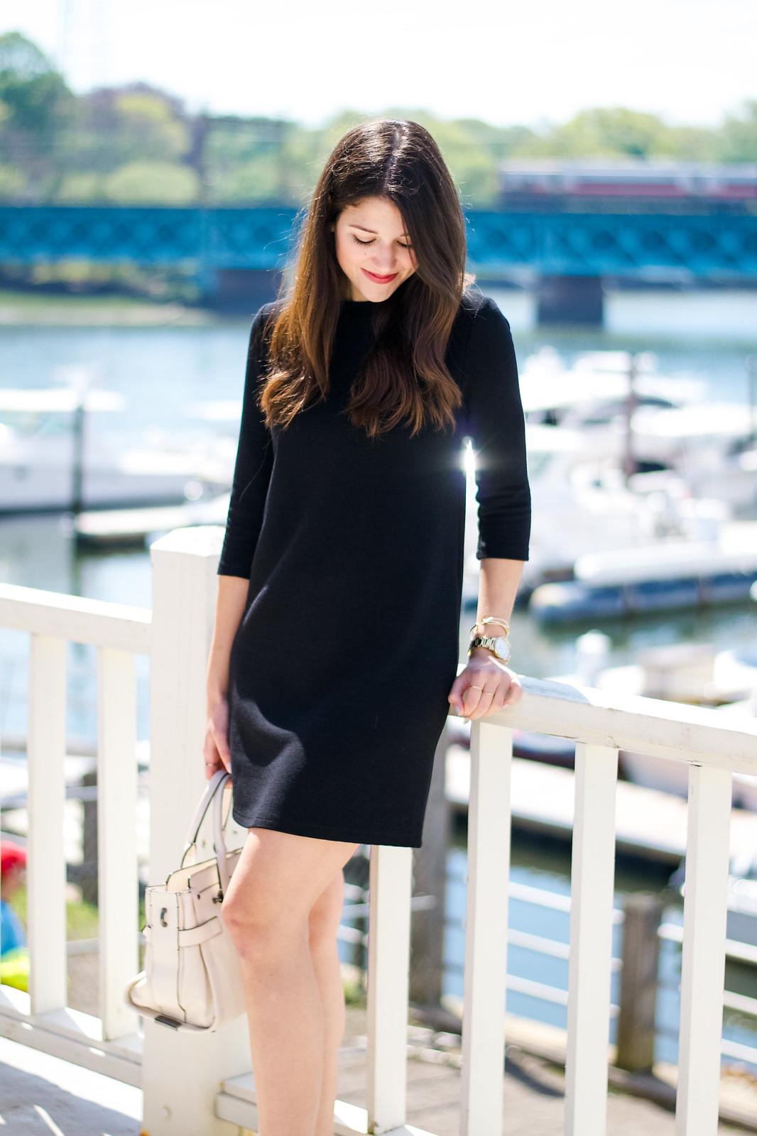 Black Dress Blush Heels Outfit Idea