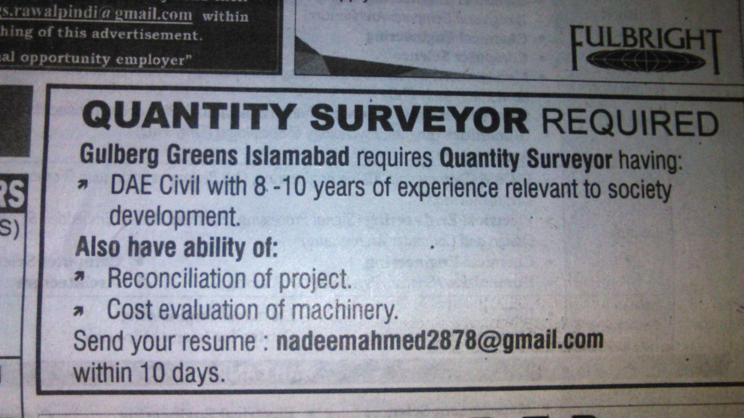 Gulberg Greens Islamabad Quantity Surveyor Required
