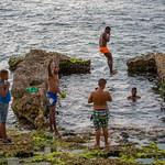 Taking a dip in the ocean, Havana, Cuba