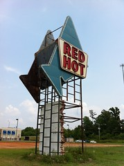 Red Hot Truck Stop Sign. Meridian Lauderdale County MS 5-27-2012
