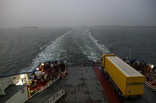 Sur le ferry en quittant le port de Dunkerque