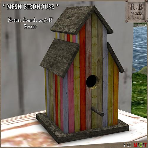 PROMO ! *RnB* Mesh Birdhouse v3 - Spring (sounds on-off)(copy)
