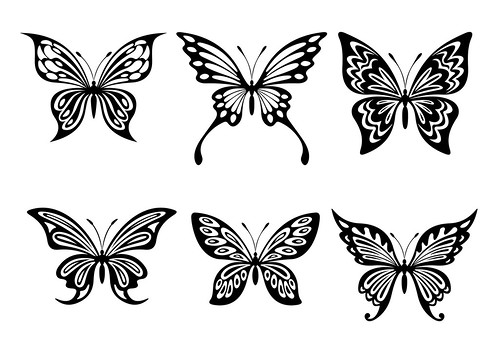 sample LARGE free Butterfly silhouette - in black