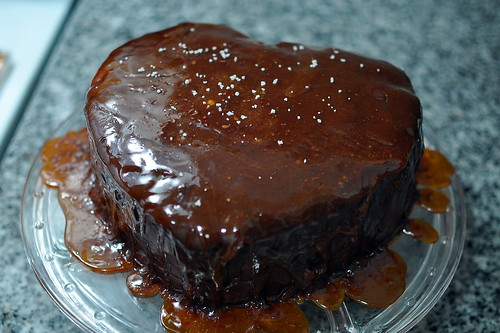 Heart-shaped chocolate caramel layer cake