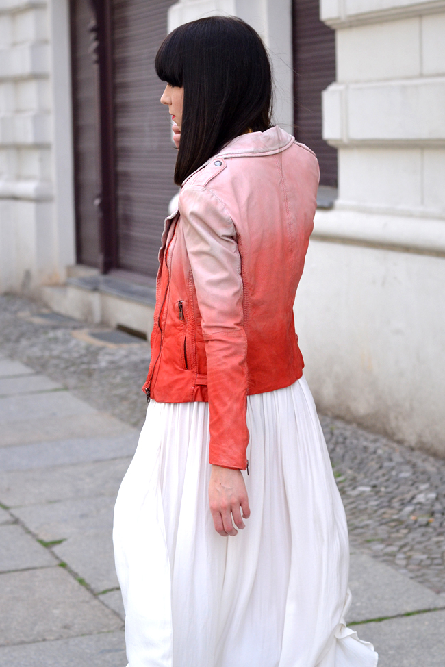 Muuba ombre leather biker jacket white red outfit 2