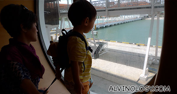 Asher observing that we have docked at Port Klang in KL