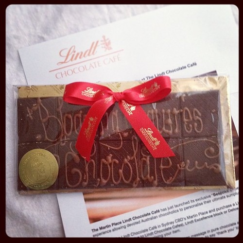 #chocolate delivery of the new @lindtaustralia bespoke  handwritten chocolate from Martin Place cafe - #treats! #gift