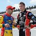 Tony Kanaan talks with Sage Karam before practice at Pocono Raceway