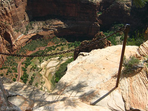 Looking down on Zion Canyon from part way up Angel's Landing, Zion National Park, Utah
