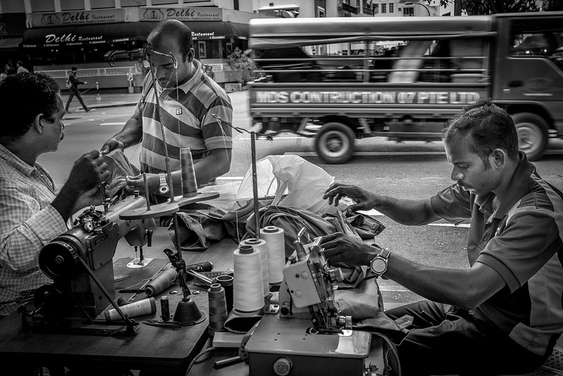 Road side tailors - you don't see them anywhere in Singapore, but only at Little India!