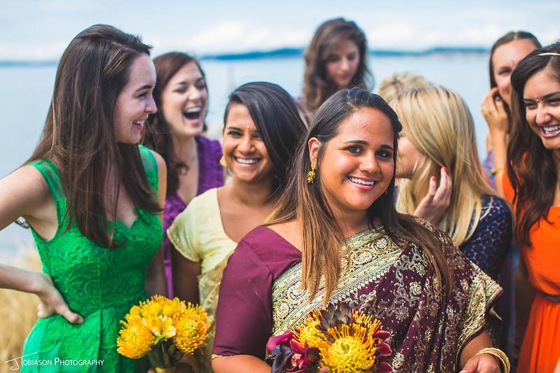 Bride on wedding day in sari