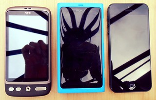 HTC Desire, Nokia Lumia 800, iPhone5