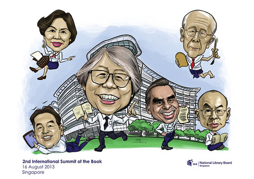digital group caricatures for National Library (NLB) - 5