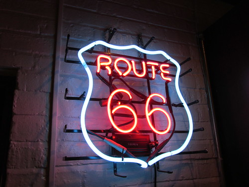 A Route 66 neon sign in the lounge.  Dell Rhea Chicken Basket.  Willowbrook Illinois.  September 2013. by Eddie from Chicago