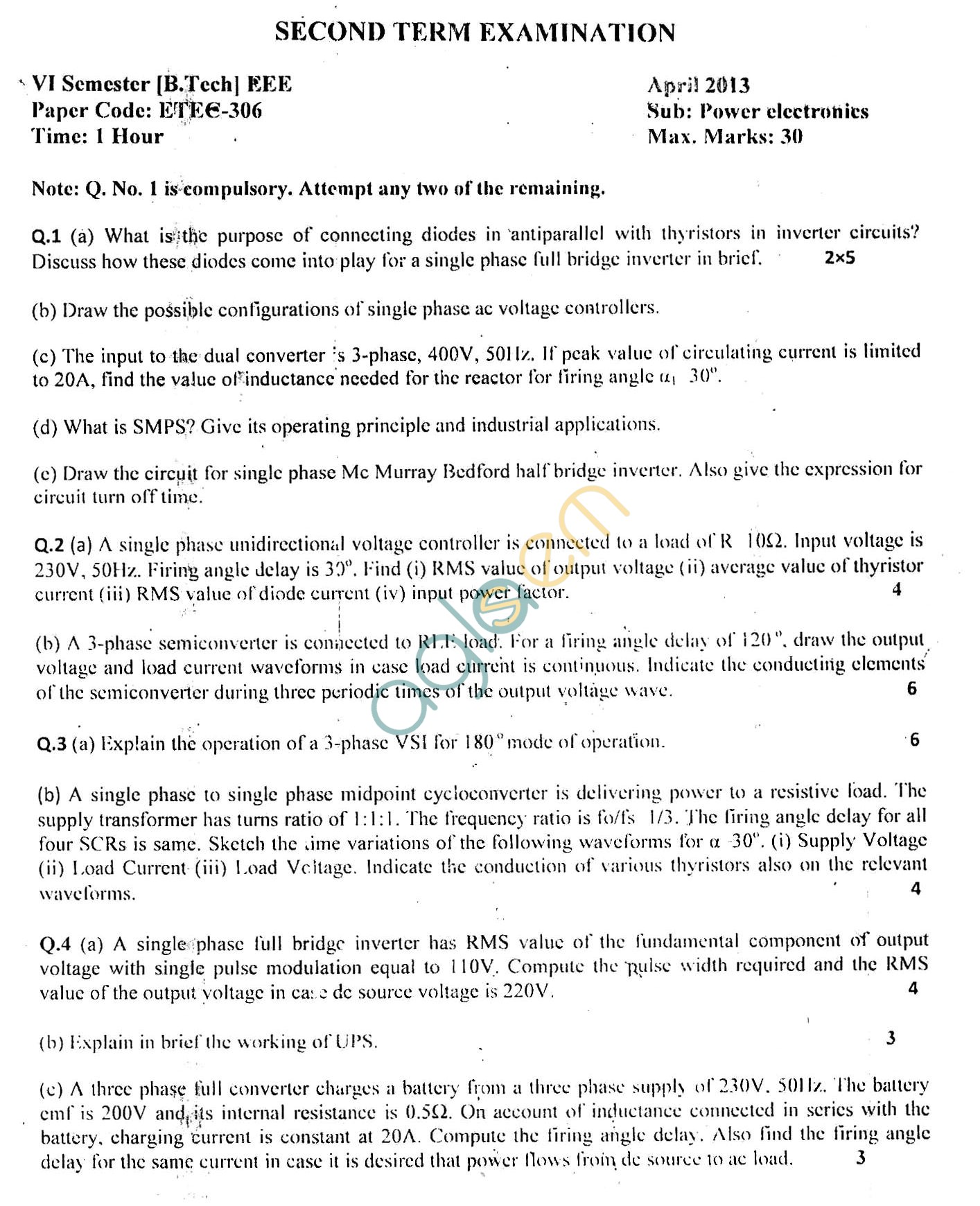 GGSIPU Question Papers Sixth Semester – Second Term 2013 – ETEE-306