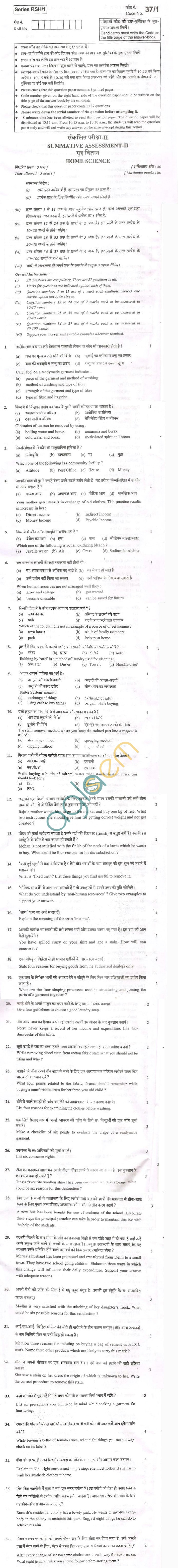 CBSE Board Exam 2013 Class X Question Paper - Home Science
