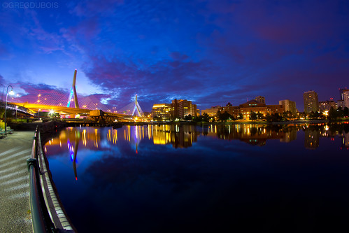 Dawn Pink Light over Zakim Bridge and Boston's West End, Charles River Reflection by Greg DuBois Photography