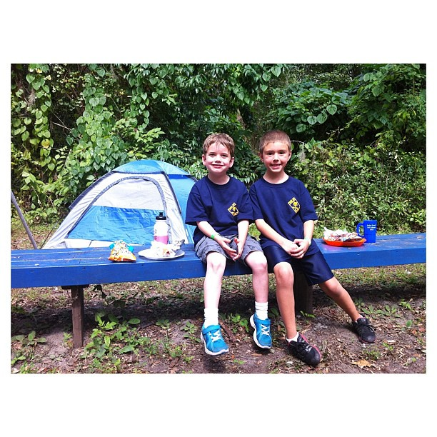 At the Cub Scout Cuboree with his friend. | Jett had so much fun today! The outdoors is HIS element. #cubscouts