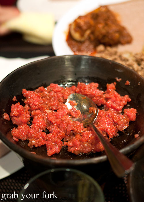 kitffo raw beef spiced butter Jambo Jambo Ethiopian African Restaurant Crows Nest
