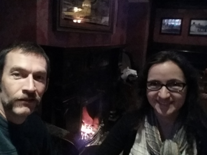 Guinness, check. In an Irish pub, check. Next to a coal fireplace? Check.
