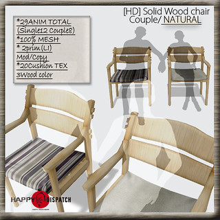 Solid Wood chair Couple NATURAL