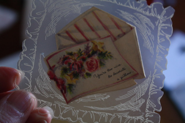 "there were several of these tiny cards. This one says ""You're too nice to decorate a pillow"", which is strange"