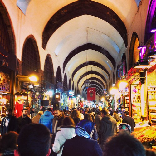 inside the busy Spice bazaar in Istanbul