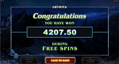 Untamed Crowned Eagle Free Spins Win