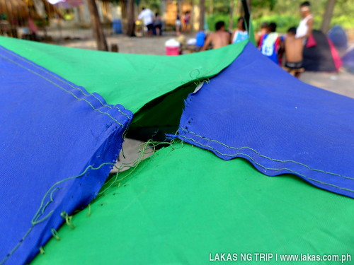 One of the tents had a torn body at the top.