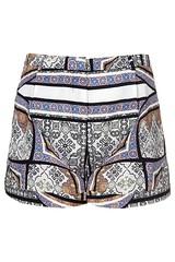 TOPSHOP-Scarf-Print-Shorts-Grey