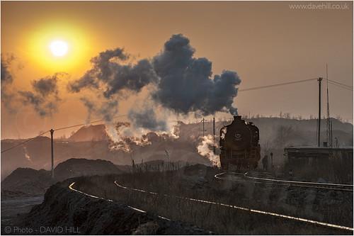 china railroad sunset train railway steam locomotive sy davidhill fuxin