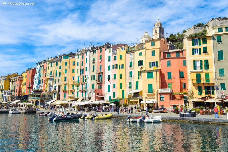 Porto Venere houses in port, Italy