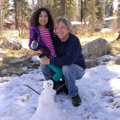 Daisy, Dad and snowman. #daisy #newmexico #daisysdad