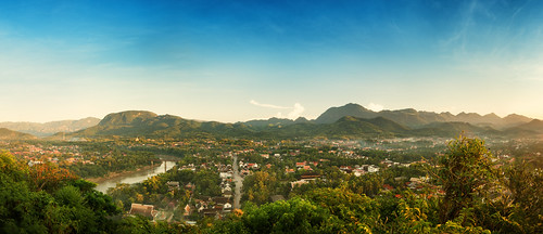 city trip travel vacation panorama mountain holiday tourism landscape asian town nikon scenery asia hill aerial d750 laos tamron luangprabang 1735mm laotian