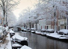 Amsterdam covered in a coat of fresh snow