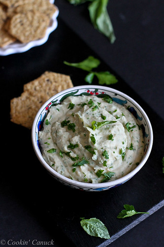 White Bean & Basil Hummus Recipe...The perfect afternoon snack! 92 calories and 2 Weight Watchers PP | cookincanuck.com #vegan