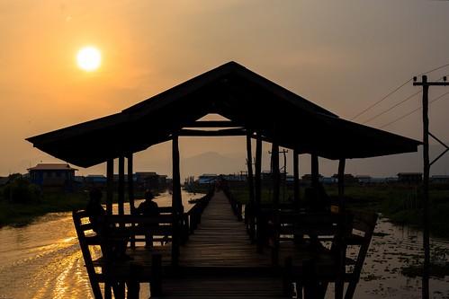 sunset on teak bridge