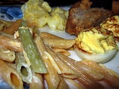 Pasta Salad, Potato Salad, Pork And Deviled Eggs.