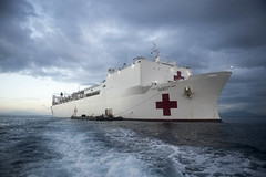 Hospital ship USNS Mercy (T-AH 19) sits anchored off the coast of Timor-Leste during its first mission stop of Pacific Partnership 2016. (U.S. Navy/MC1 Elizabeth Merriam)