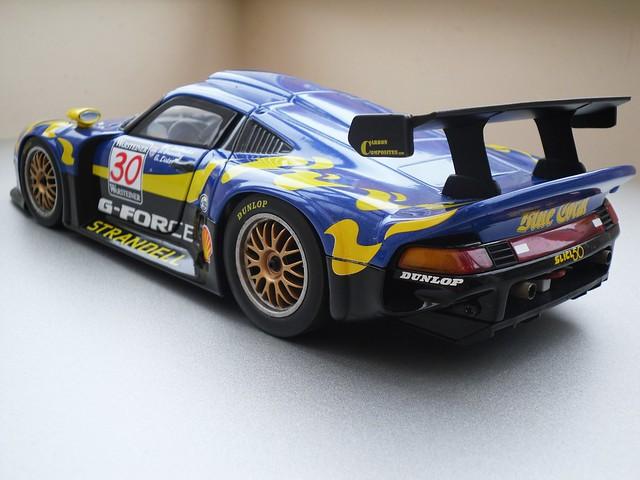porsche 911 gt1 blue coral ut 1 18 dx motorsports. Black Bedroom Furniture Sets. Home Design Ideas