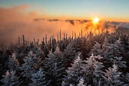 park morning cloud mountain sunrise landscape national smoky