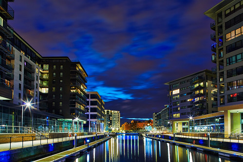 uk longexposure architecture night buildings reflections lights apartments cloudy dusk leeds architectural illuminated latenight explore westyorkshire urbanlandscape summersolstice redevelopment tiltshift clarencedock flickrexplore explored flickrexplored lightevenings canon24mmtse canon5dmk3 markmullenphotography