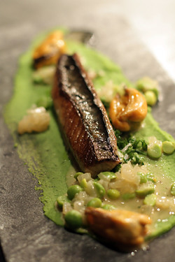 Ekstedt fish course (mackerel)