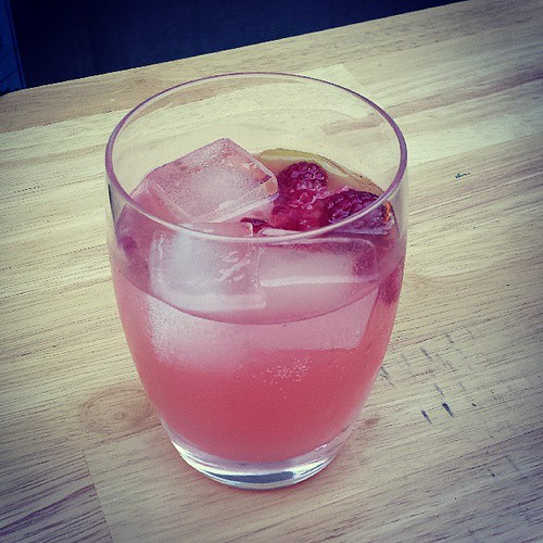 Solstice Punch: Raspberry infused aquavit, lemon, Pavan, sugar, and sparkling wine.