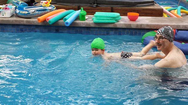 He's swimming!