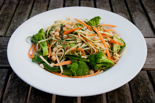 Carrot and Courgette Pesto Noodles with Chickpeas and Broccoli