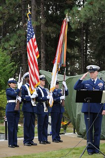 Members of Coast Guard Base Seattle Color Guard present colors during an annual ceremony to honor Signalman 1st Class Douglas A. Munro at the Laurel Hill Memorial Park in Cle Elum, Wash., Sept. 27, 2013. Munro was honored for his service in the Coast Guard during World War II, when he was fatally wounded by enemy fire while evacuating Marines from the beaches of Guadalcanal. U.S. Coast Guard photo by Petty Officer 3rd Class Katelyn Tyson.