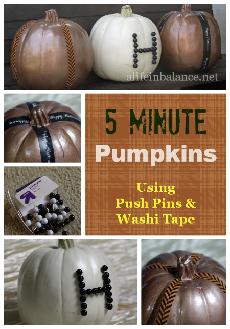 5 minute pumpkin decor using push pins and washi tape