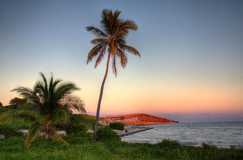 bridge sunset honda keys florida palm clear bahia hdr