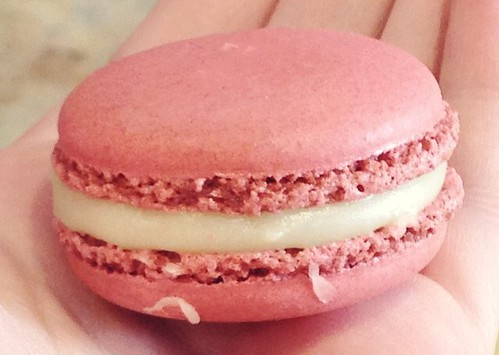 Rosewater white chocolate and raspberry macaron